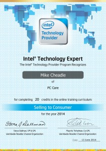 PC Care - Intel Technology Expert Certificate - Selling to Consumer