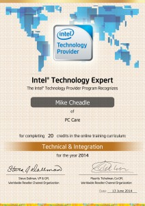 PC Care - Intel Technology Expert Certificate - Technical & Integration
