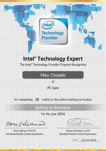 PC Care - Intel® Technology Expert - Selling to Business Certificate