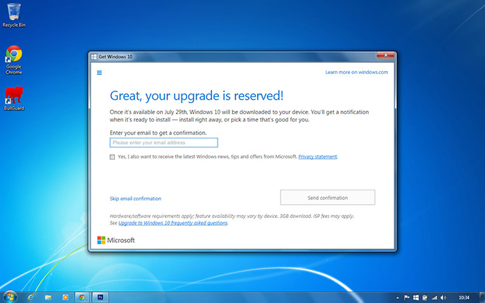 PC Care - Windows 10 Upgrade email confirmation