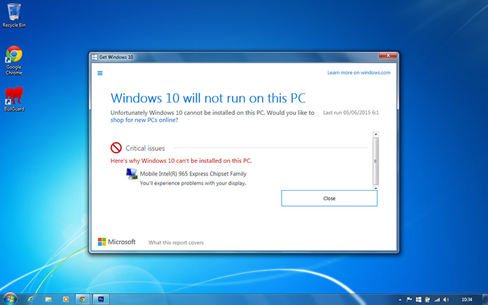 PC Care - Windows 10 example compatibility report