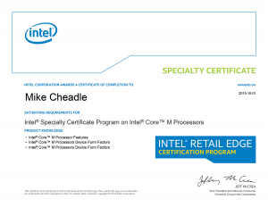 PC Care - Intel Specialty Certificate - Core M Processors