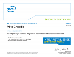 PC Care - Intel Specialty certificate - Intel Vs the Competition