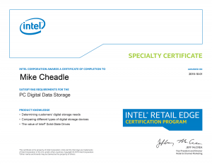 PC Care - Intel Specialty Certificate - PC Digital Data Storage